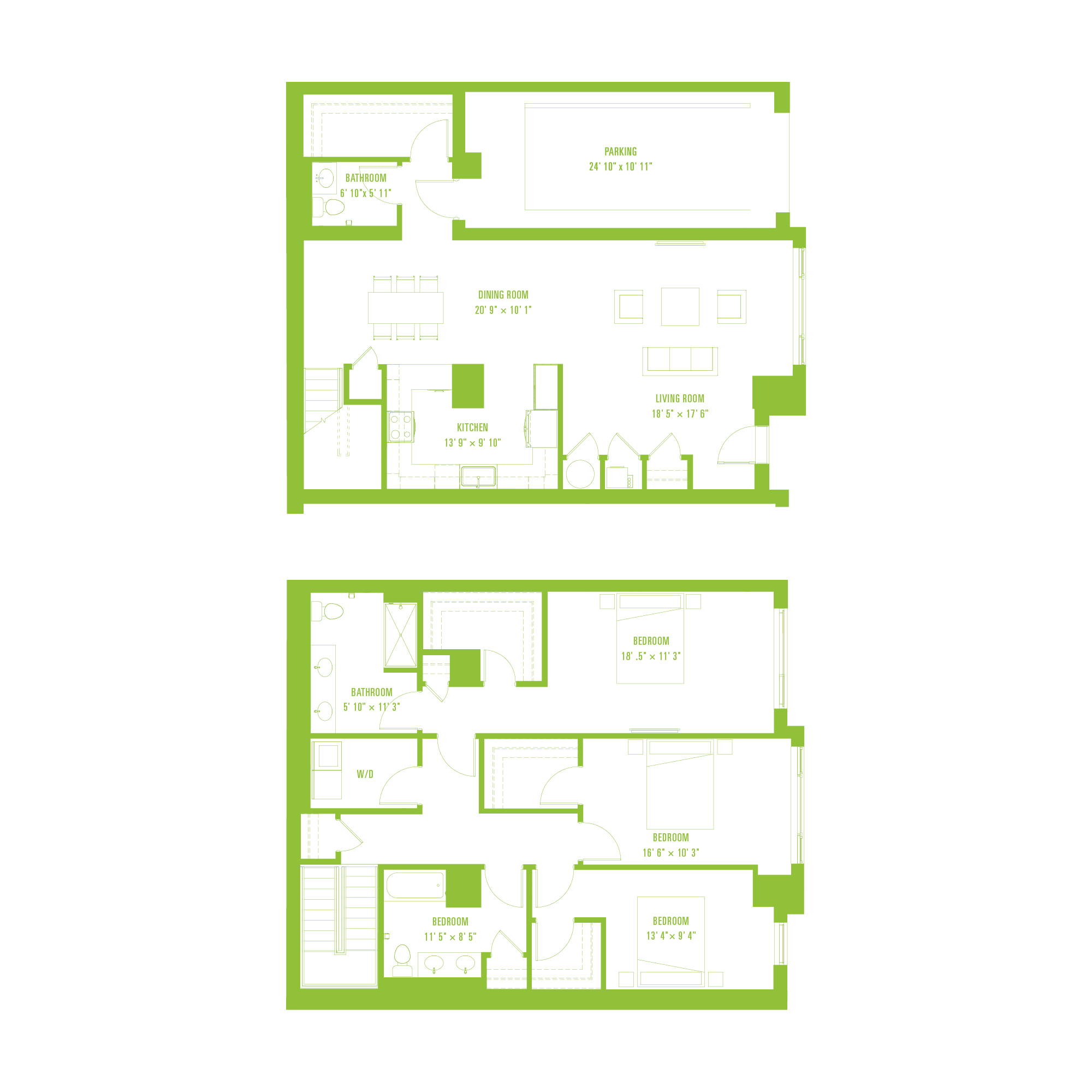 A flat representation of the floorplan of the unit in the building.